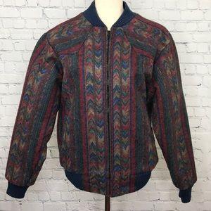 Vtg SADDLE KING WESTERN Aztec Print Jacket sz M